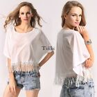 Women Middle Sleeve Shirts Blouse Casual Tops Loose Blouse Cotton Blend TXWD