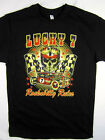 Lucky 7 Rockabilly Rules Rod Racing tee shirt men's black choose your size
