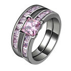Ring USA Size 6-9  Pink Zircon Women's 14Kt Black Gold Filled Gift Temperament