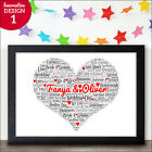 Wedding Print Personalised Word Art Gift - Personalised Wedding Love Heart