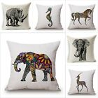 WILD ANIMAL DECORATIVE CUSHION COVER 45X45CM (18X18IN) ELEPHANT OWL ELK SQUARE T