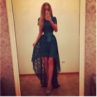 D345 Elegant Lace And Elegant Girding Belt Irregular Hem Long Party Dresses S-XL