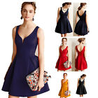 D341 Sexy Sleeveless Deep V Backless Girding Elegant A-line Party Dresses S-XL