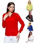Womens Sexy Casual Chiffon Collared Long Sleeve Office Blouse Shirt Top