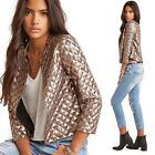 Fashion Women Gold Suit Blazer Sequin Coat Long Sleeve Bling Shinny Punk Jacket