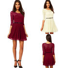 Women Sweetheart Neck Mid Sleeve Burgundy Clubwear Lace Mini Skater Dress & Belt