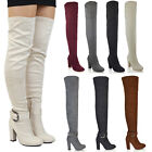 Womens Over The Knee High Mid Block Heel Ladies Sock Fit Thigh High Boots Size
