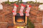 Christmas Knitted Stocking Personalized Tag Birch Wooden Custom Santa Presents