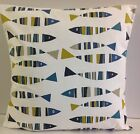 NEW SINGLE CUSHION COVERS FUNKYBLUE MUSTARD GREY WHITE FISH SARDINE PILLOWCASE