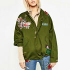 2016 New Women Embroidery Parka Jacket Winter Military Green Trench Coat Outwear