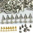 100 PCS Trendy 10MM Silver Spots Cone Screw Metal Studs Rivet Bullet Spikes US