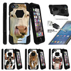 """For Apple iPhone 7 Plus (5.5"""") Bumper Stand Case + Tempered Glass Silly Animals"""