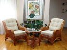 Jam Rattan Wicker Living Set 3pc Coffee Table 2 Chairs w/Cream Cushions