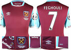 16 / 17 - UMBRO WEST HAM UNITED HOME SHIRT SS + PATCHES  FEGHOULI 7 = KIDS SIZE