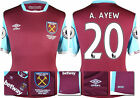 16 / 17 - UMBRO WEST HAM UNITED HOME SHIRT SS + PATCHES  A. AYEW 20 = KIDS SIZE