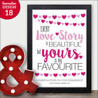 Every Love Story is Beautiful Personalised Engagement Gift Keepsake Print Mr Mrs