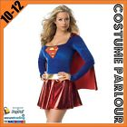Womens Ladies Super Woman Super Hero Fancy Dress Costume Size 8 - 14