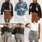 Womens High Waist Lace Up Suede Leather Pocket Short A-line Skirt Dress Clothing