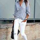 New Fashion Women Lady Casual Cotton Long Sleeve Striped Loose Shirt Blouse Tops