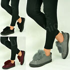 New Womens Ladies Trainers Fur Suede Grey Sneakers Black Shoes Size Uk 3-8
