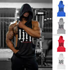 New Muscle Hoodies Men's Cotton Sleeveless Slim Fit Workout Stringer Sweatshirt