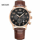 MEGIR Men's Chronograph Watches Leather Strap Analog Date Business Casual Watch