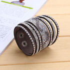 Chic Multilayer Women Crystal Leather Bracelets Cuff Bangles Jrewelry Party Gift