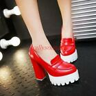 Womens Ladies Chunky High Heels Platform Slip On Pumps Punk Court Shoes new