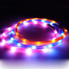LED Pet Dog Collar Rechargeable USB 70cm Adjustable Flashing Safety In Night UK