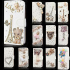 Luxury Wallet Bling Rhinestone Leather Flip Case Cover For Iphone Samsung Phone