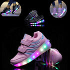 Unisex Kids Girls Boys LED Light UP Men Roller Shoes Women Sneakers Wheels UK