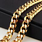 "13/15mm Strong 316L Stainless Steel Heavy Gold Curb Cuban Men's Necklace 18""-40"""