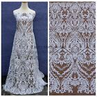Off white Cord sequins wedding dress lace fabric 51'' width by yard
