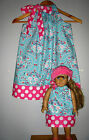 Dollie and me matching dresses pillowcase dress 100% cotton blue pink all season