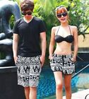 Korea Men Women Black White Lace Up Shorts Trunk Swimming Board Short L XL 2XL ♫