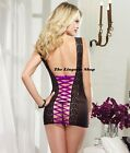 Sheer Black Chemise with Purple Laceup Adjustable Back Soft Stretch Fits 8-10