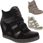 New Ladies Girls Womens Lace Up Velcro Wedge Heel Trainers Ankle Boots Shoes UK