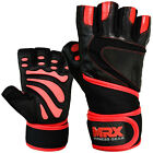 MRX Weight Lifting Gloves Gym Training Fitness Long Wrist Strap Black / Red
