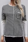 Karen Millen Black White Stripe Pocket Knitted Wool Sweater Jumper Top 8 36 US 4