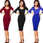 Women Elegant Sequin Lace High Waist Casual Party Work Office Bodycon Dress 4308
