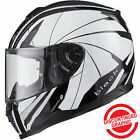 Black Titan Hornet White Motorcycle Helmet Motorbike Bike Crash Lid Safety Road