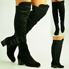 New Womens Ladies Over The Knee Chelsea Boots Low Heel Winter Shoes Size Uk 3-8