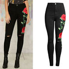 Women Embroidered Denim Skinny Ripped Pants Stretch Jeans Slim Pencil Trousers