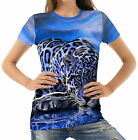 Blue Jaguar Lampart Women's Clothing T-Shirts acr40092