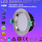 1/6X 18W LED Downlight Kits 120mm Cutout Dimmable IP44 Satin Chrome Fittings