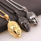 New Men's Buddha Pendant Stainless Steel Religious Silver/Gold/Black Necklace