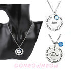 Round Son Daughter Love Mom Dad Blue Crystal Carved Angel Pendant Necklace Gift