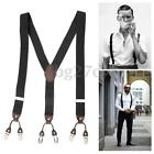 Men's Elastic Adjustable Suspenders 6 Clips-on Y-Shape Brace Multicolor 35mm AU