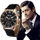 Fashion New Geneva Men Leather Band Stainless Steel Quartz Analog Wrist Watch