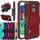 Hybrid ShockProof Kickstand Belt Clip Case Cover for Samsung Galaxy S5 SM-G900